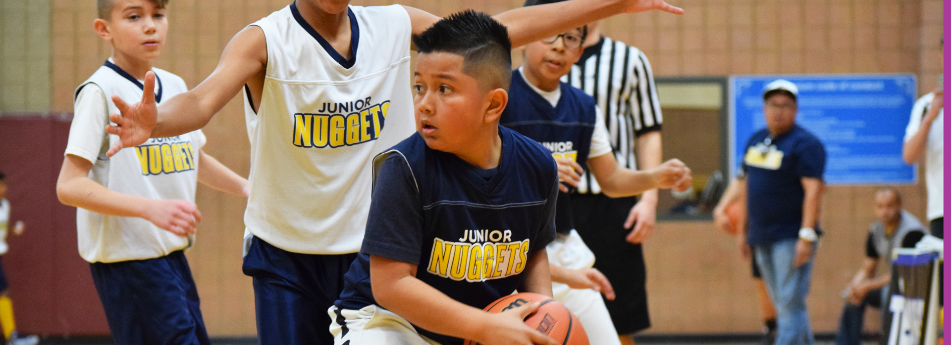 junior nuggets playing basketball